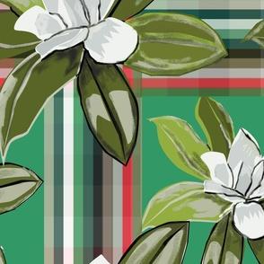 magnolias plaid green