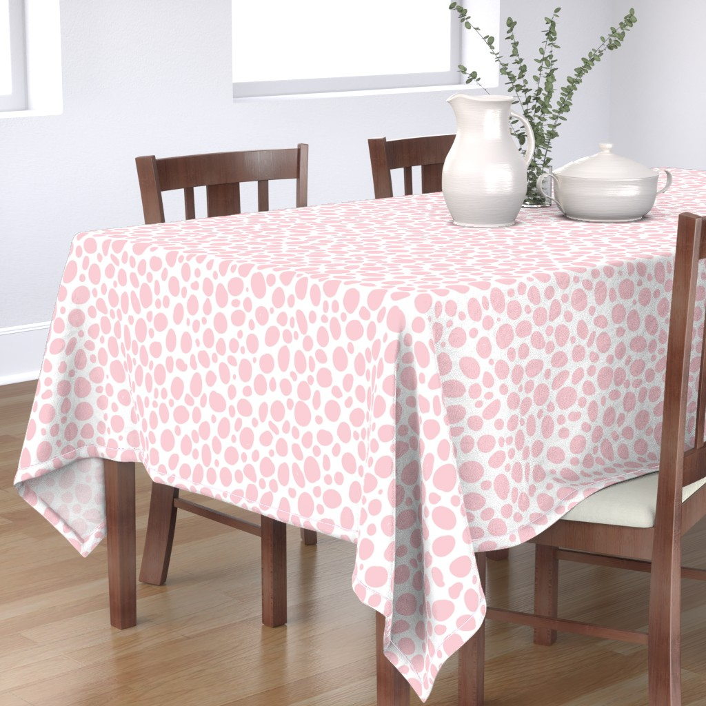 Bantam Rectangular Tablecloth featuring Blush Pink Spots by whitneyhawkins