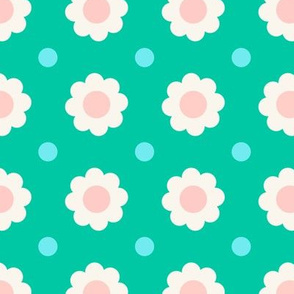 White and pink flowers with blue dots on turquoise background