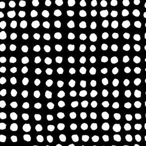 Hand Painted Polka Dot | White On Black