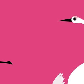 Summer is coming and so are the birds sweet Scandinavian minimal style crane bird flock pink fuchsia girls XXL