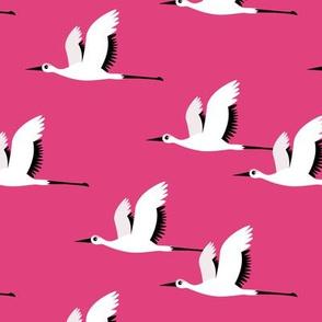 Summer is coming and so are the birds sweet Scandinavian minimal style crane bird flock pink fuchsia girls