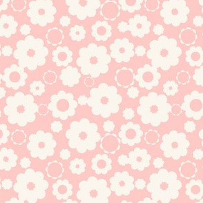 White flowers over pink