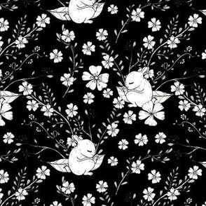 1134 INKED FLOWERS _ BUNNY - black   _1242