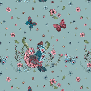 1088 B FOLKART BIRDS _ BUTTERFLIES vintage blue