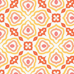Floral Medallion Chain-link in Coral