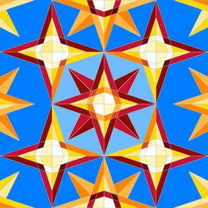geometric star quilt blue 4