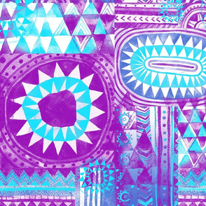 Tribal Bohemian Patchwork / Neon Purple and Blue
