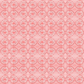 Tribal Bohemian Circles of Triangles / Coral Pink