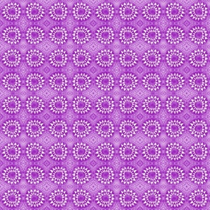 Tribal Bohemian Circles of Triangles / Neon Purple