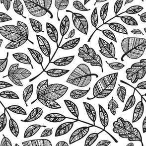 Ornamental Leaves / Black and White