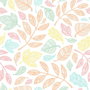 Ornamental Leaves / Pastel Palette