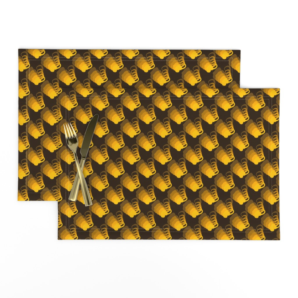 Lamona Cloth Placemats featuring Tangerine Brown Elephant Silhouettes on Blue Millennial Plaid by maryyx