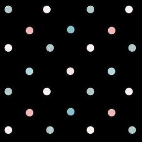 1169 Muted Pink _ Blue Dots Mix - black
