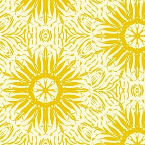 Starbursts of Bright Yellow on Jersey Cream