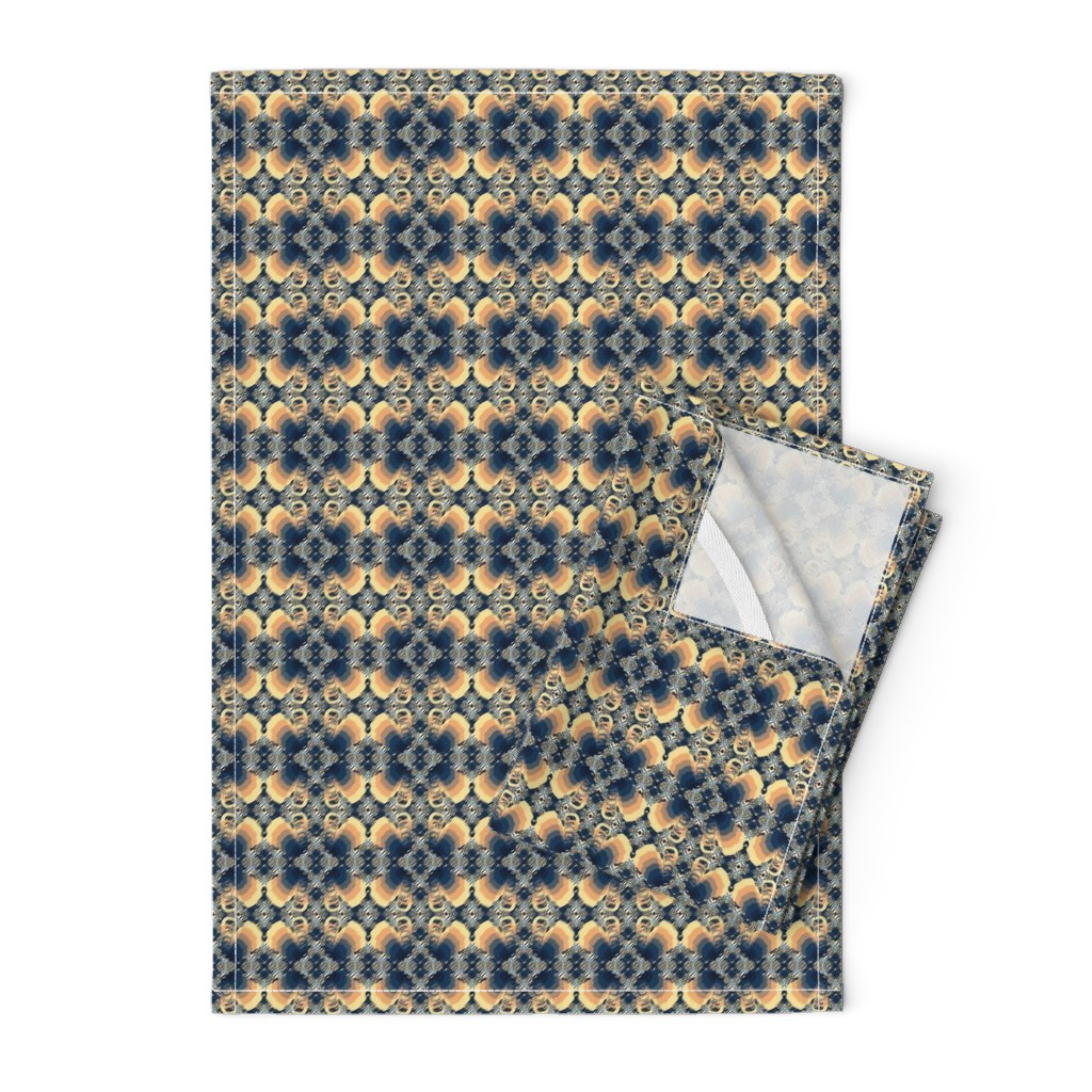Orpington Tea Towels featuring Small - Layered Hand Drawn Elephant Silhouettes in Blue and Beige - two way design by maryyx