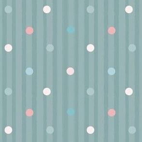 1173 Muted Pink _ Blue Dots Mix - vintage blue stripes
