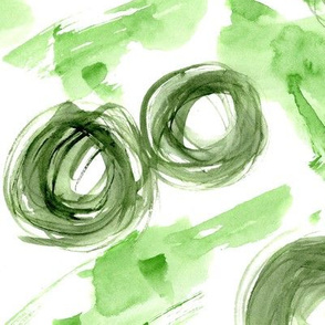 Green watercolor mess • painted circles and stains
