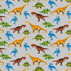 Happy Dinosaurs on Grey Background - Tiny Size