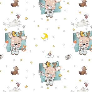 1200 Reindeer Babes Nursery white