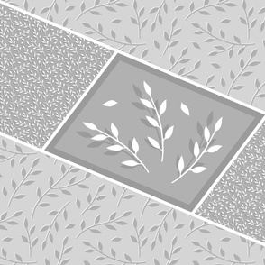 Leafy branches - monochromatic gray - cheater quilt challenge