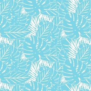 Leaf Print Aqua Blue