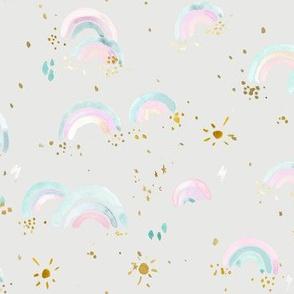 sunshine  + rainbows + pastels on gray