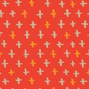 Swiss Cross + in Persimmon and Coral // Scandi Woodland Adventure Cheater Quilt Coordinate // Animals + Landscape // Texture, Shapes, Geometric, Modern Quilt
