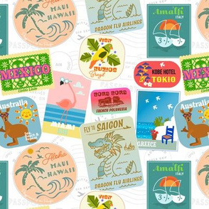 Vintage travel Stickers REDUCED