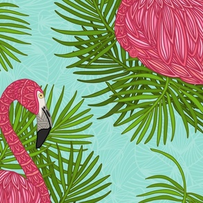 TROPICAL FLAMINGO _ LEAVE PATTERN 32