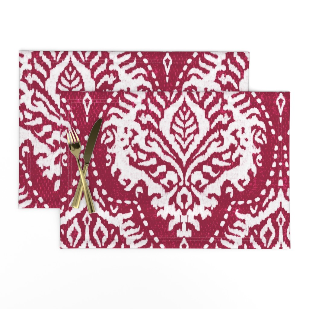 Lamona Cloth Placemats featuring White Damask on Cranberry - large scale by red_raspberry_design