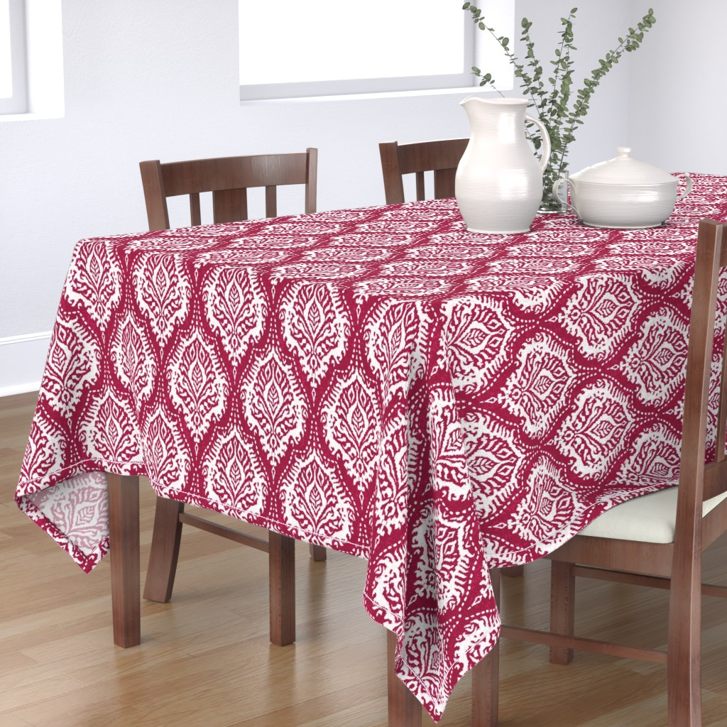 Bantam Rectangular Tablecloth featuring White Damask on Cranberry - medium scale by red_raspberry_design