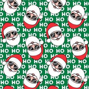 Santa Claus w/ sunnies - HO HO HO green toss - Christmas C19BS