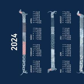 German 2021 Calendar, Monday / Sashiko Style Dachshund