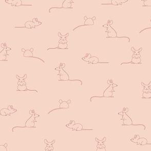 Rat Mouse  - hand drawn animals. Pink