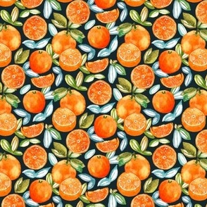 Oranges On Navy (Small Version)