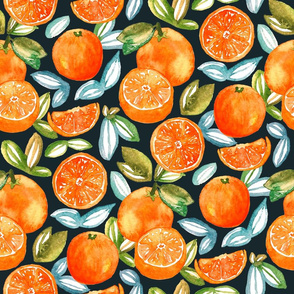 Oranges On Navy  (Large Version)