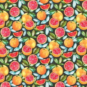 Grapefruits On Navy (Small Version)