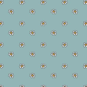 1236 piglet neutrals daisies on blue