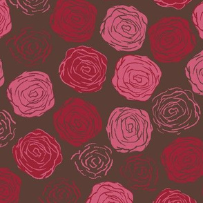 Abstract, round Roses in Brown red