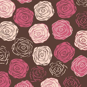 Abstract roses in Brown, pink and creme