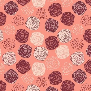 Abstract roses Pink bordeaux beige