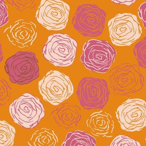 Abstract Roses in Cheddar pink beige