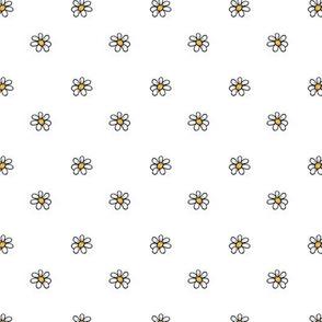 1239 piglet neutrals daisies on white