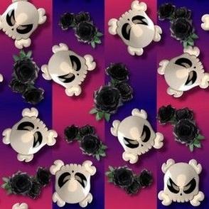 Goth Cutey Skulls on Gradient Stripes