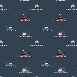 1251 Reindeer Rascals by the Sea blue - neutrals - ships navy