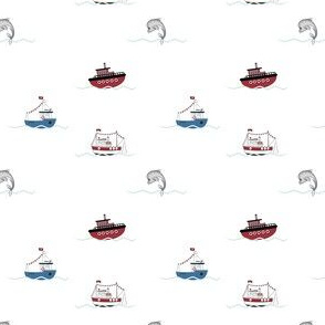 1252 Reindeer Rascals by the Sea blue - neutrals - ships white