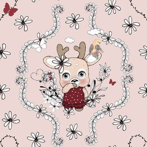 1259 Reindeer Rascals - Mrs Pretty floral - dusty pink