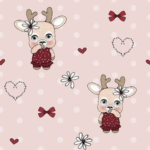 1255 Reindeer Rascals - Mrs Prettydusty pink