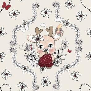 1258 Reindeer Rascals - Mrs Pretty floral - creme